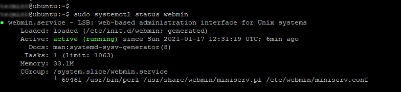 Webmin Up & Running